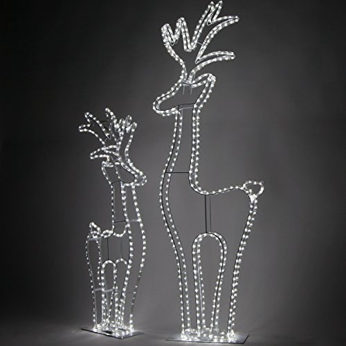 Wintergreen Lighting 3D Cool White LED Christmas Reindeer Yard Decorations (4 Ft Tall, 324 Lights) (Led Reindeer)
