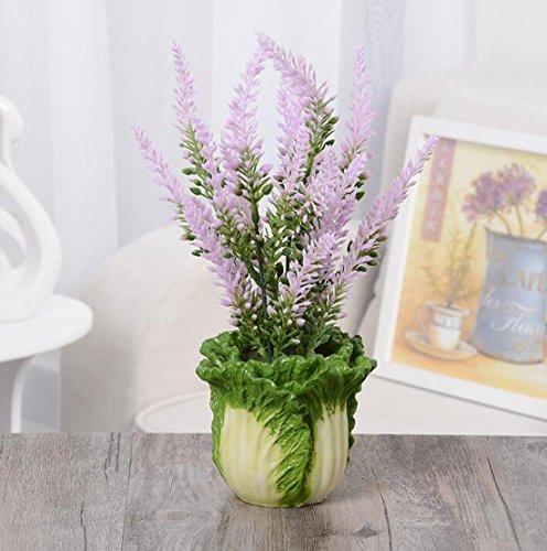 Ivy Leaf Pedestal (Artificial Lavender Flowers Bonsai Plants,artificial flowers with Novel Sabbage Vase,Decoration for Living)