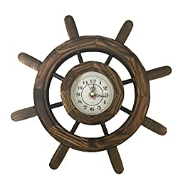 Creative Motion 22021-2 Wooden Clock in Steering Wheel Design