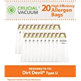 20 Highly Durable Dirt Devil Type U Allergen Filtration Vacuum Bags; Compare to Dirt Devil Part Nos. 3920750001, 3920047001, 3920048001; Designed & Engineered by Think Crucial