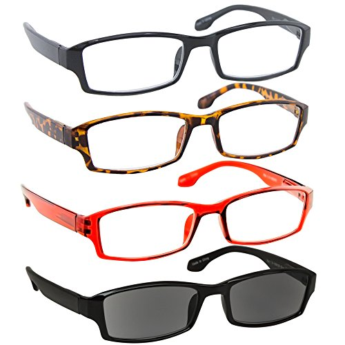 Reading Glasses Best 4 Pack_Black Tortoise Red & Sun Readers for Men & Women_Have a Stylish Look & Crystal Clear Vision When You Need It!_Comfort Spring Arms & Dura-Tight Screws_100% - Readers Discount