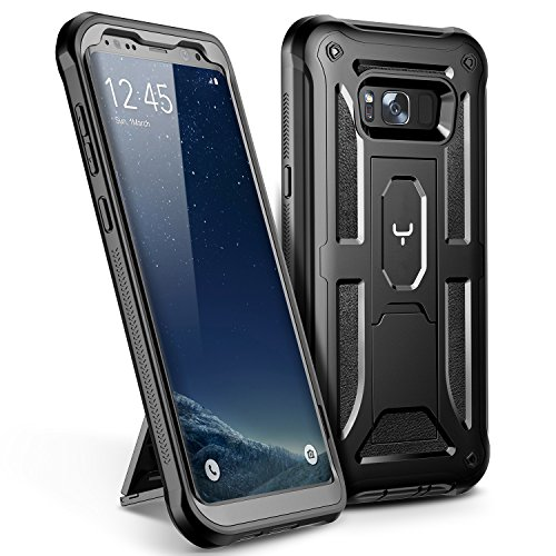 Galaxy S8 Plus Case, YOUMAKER Heavy Duty Protection Kickstand Clip Holster Shockproof Case for Samsung Galaxy S8 Plus (2017) 6.2 inch Without Built-in Screen Protector (Black/Black)