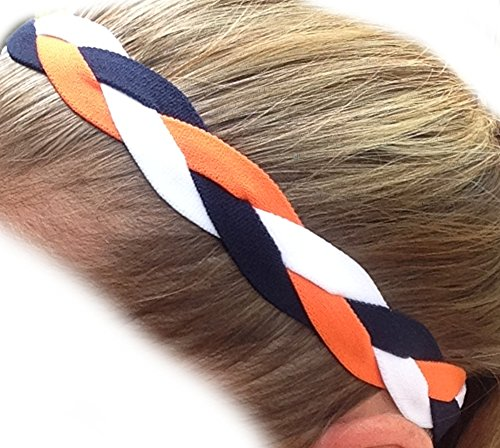 IT'S RIDIC! No Slip Grip/Non-Slip Sports/Athletic Nylon Triple Braided Sports Headband (Dark Blue | Orange | White)
