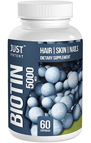 Биотин (витамин B7) Дополнение от Just Potent :: 5000 MCG :: волос :: кожи :: Гвозди :: 60 капсул