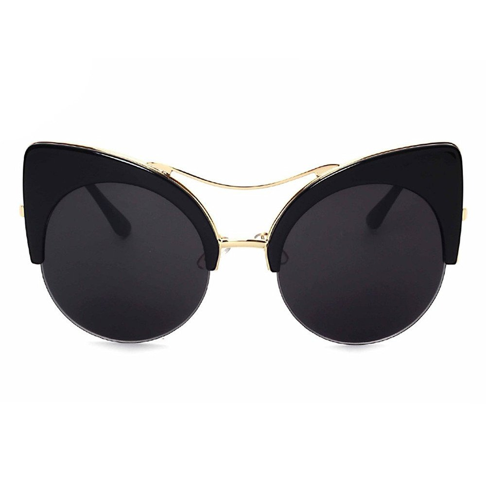 8a70b0c680418 Amazon.com  GAMT Oversized Cat Eye Sunglasses Round Mirrored Lens for Women  Black  Shoes