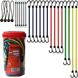 "#4: Cartman Bungee Cords Assortment Jar 24 Piece in Jar - Includes 10"", 18"", 24"", 32"", 40"" Bungee Cord and 8"" Canopy/Tarp Ball Ties"