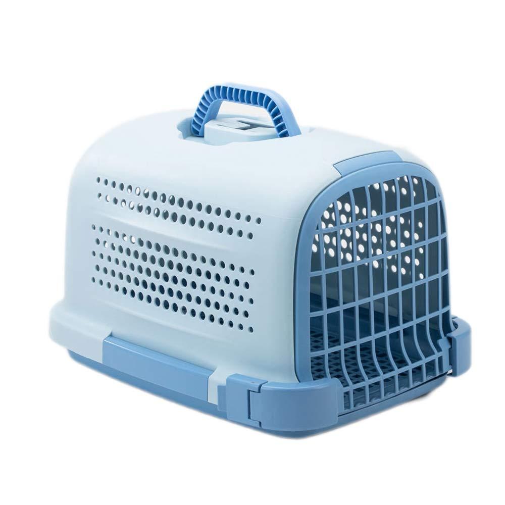 Pet Bag Dog Check Box cat Out Bag Portable Handbag car Accessories ABS (color   bluee)