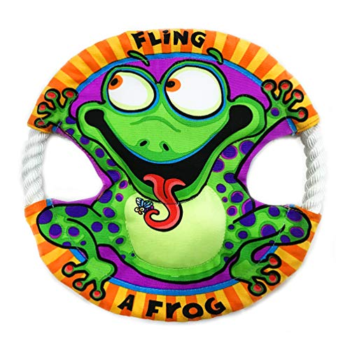 Dog Toys Flying Disc - Chewing Tail-Spin Flyer Frisbee - Training Dog Toys Frisbee Soft (8.6 Inch) (Frog)
