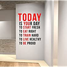 Today is Your Day to Start Fresh... Wall Decal Motivational Quote-Health and Fitness Spinning Kettlebell Workout Boxing UFC MMA