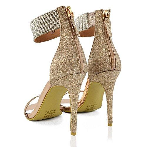 ESSEX GLAM Damen Stiletto Absatz Knöchelriemen Schuhe mit Strass Glitzer Offener Zehe Riemchensandalen mit Reißverschluss Champagner Glitzerstaub