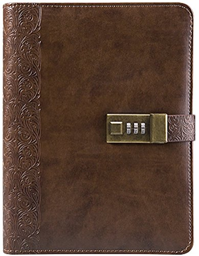 Business Journal With Combination Lock ( Diary With Combination Lock ) A5 (8.5 X 5.8 Inch) The PU Leather Combination Lock Journal ( Combination Lock Diary ) Is A Refillable Leather Journal (coffee)