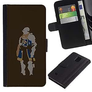 LASTONE PHONE CASE / Lujo Billetera de Cuero Caso del tirón Titular de la tarjeta Flip Carcasa Funda para Samsung Galaxy Note 4 SM-N910 / Minimalist Knight
