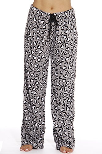 6339-10175-S Just Love Women's Plush Pajama Pants - Petite to Plus Size Pajamas,Heart Leopard - Grey,Small