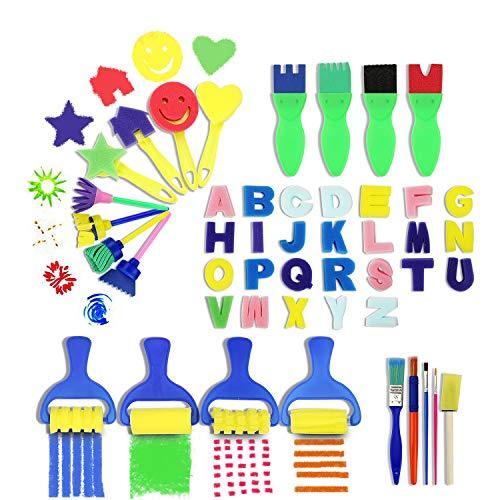 HBlife 47Pcs Children Fun Brush Sponge Finger Painting Drawing Tools Graffiti Flower Pattern Foam Roller Sponge Brushes Set Kit Early Learning Kids Tools for Perschool Varnish Craft DIY Art Supplies for $<!--$7.99-->