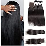VIPbeauty Virgin Straight Hair Brazilian Bundle Deals With Free Part Closure 10A Grade Natural Black 100% Unprocessed Human Hair 95-100g/pc(16 18 20 with 14) For Sale