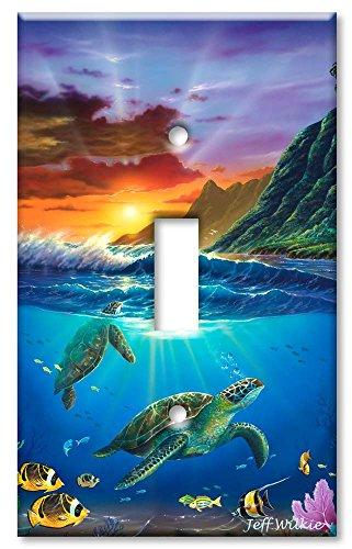 Single Gang Toggle Wall Plate - Sea Turtles