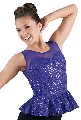 (Balera Dance Tank Top Sequin Performance Peplum Waist)