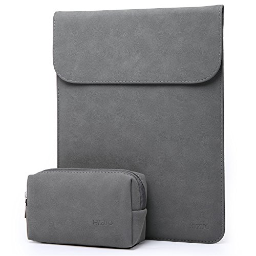 HYZUO 15 Inch Laptop Sleeve Water-Resistant Protective Case Compatible with 15.4 Inch New MacBook Pro with Touch Bar 2016-2019 A1990 A1707 with Small Carrying Bag, Faux Suede Leather-Dark Grey