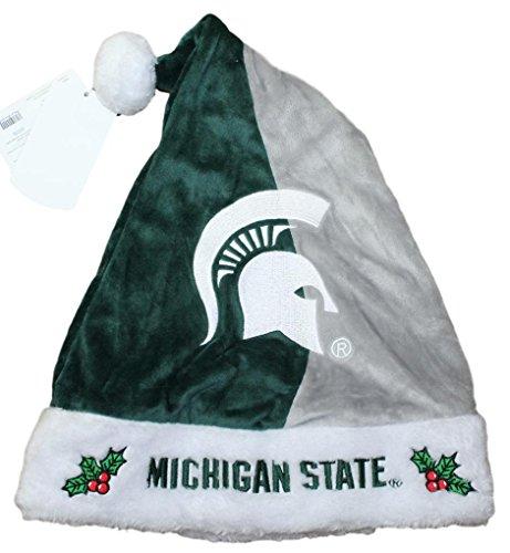 Michigan State Spartans 2017 NCAA Basic Logo Plush Christmas Santa Hat (Hat Plush State)