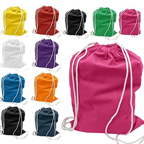 (12 Pack) 1 Dozen - Durable Cotton Drawstring Tote Bags (Mix) (Cotton Soft Mix)