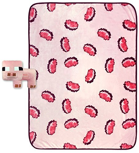 "Price comparison product image Mojang MineCraft 10"" Pig Pillowbuddy and Pork Chop Throw Plush 2 piece Set"