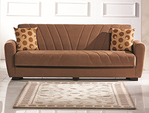 Empire Furniture USA Tampa Collection Contemporary Convertible Folding Sofa Sleeper Bed with Storage Space, Includes 2 Pillows, Brown
