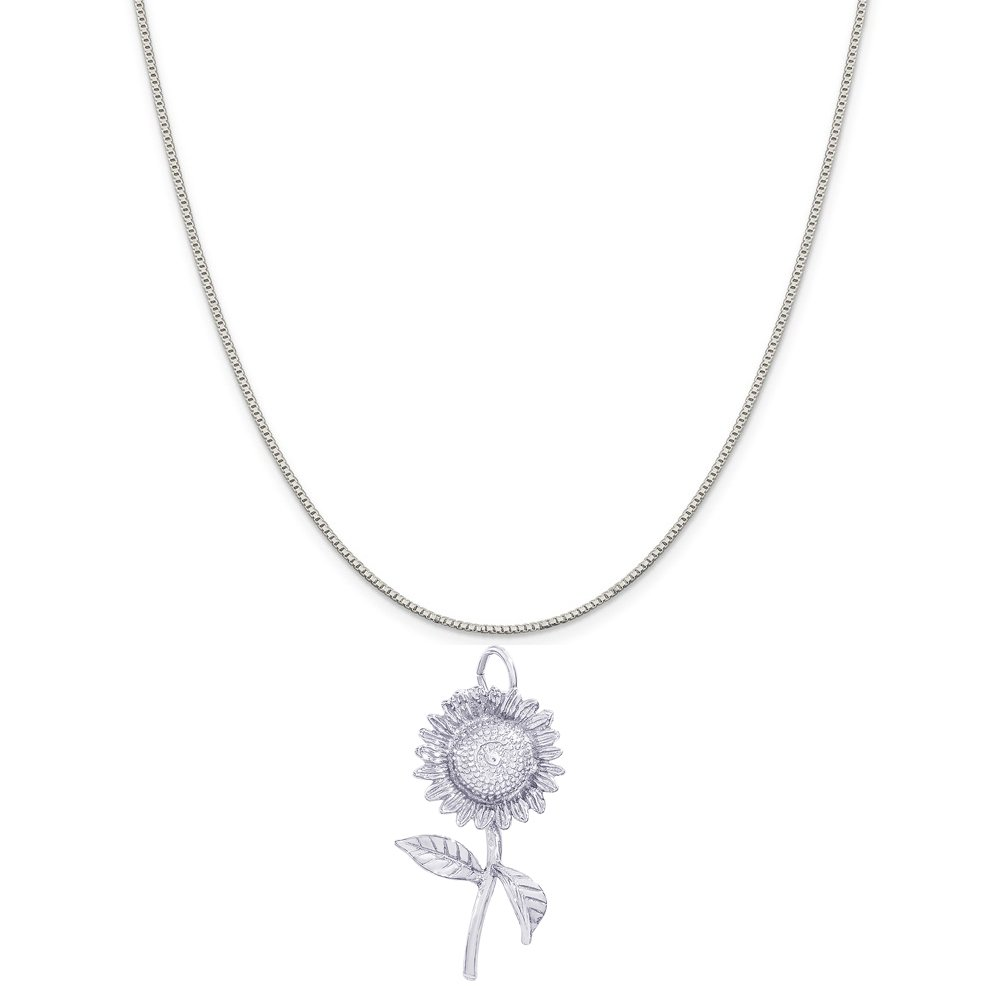 Box or Curb Chain Necklace 18 or 20 inch Rope Rembrandt Charms Sterling Silver Sunflower Charm on a 16