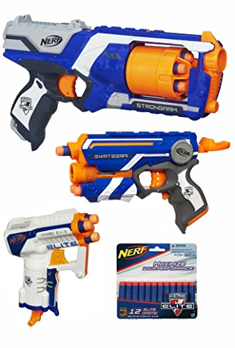 Nerf Elite Bundle: One of Each Nerf N-Strike Elite: Strongarm Blaster, Firestrike Blaster, Triad EX-3 Blaster and 12