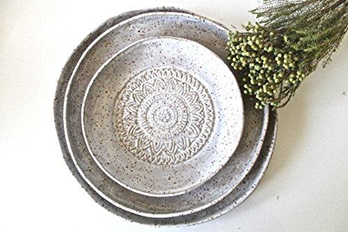 Handmade Pottery Plates Set – Speckled white matte Organic Shape Textured Plates – Stoneware Plates – Stoneware Serving Plates in white matte