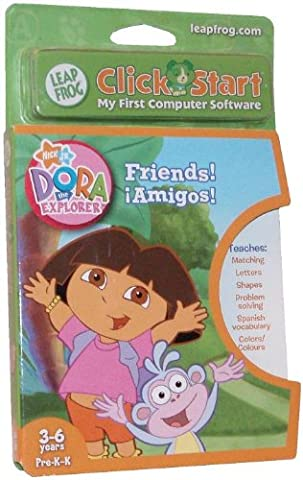 LeapFrog ClickStart My First Computer Educational Software Cartridge - Dora the Explorer - Friends! Amigos! That Teaches Matching, Letters, Shapes, Problem Solving, Spanish Vocabulary and (Educational Software)