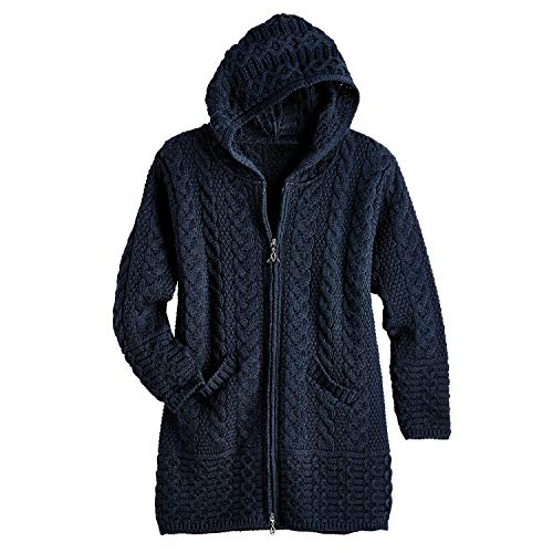 West End Knitwear Women's Brigid Hooded Aran Cardigan - Navy - -