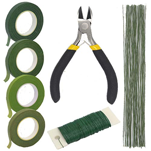 FIVEWARE Floral Arrangement Tools Kit with Green Floral Tapes, 26 Gauge Stem Wire, Wire Cutter and 22 Gauge Paddle Floral Wire for Bouquet Stem Wrap Florist Wedding Floral Supplies