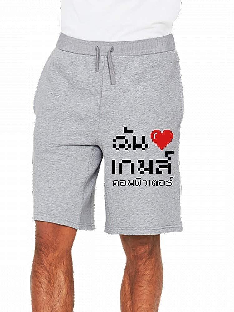 I Heart Love Computer Games Thai Language Mens Casual Shorts Pants