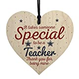 Barlingrock Handmade Hanging Heart Gift Plaque for Teacher Left Present,Personalized Appreciation Class or Individual Thanksgiving Gifts for Family or Friends Solid Wood Made-4''x4''
