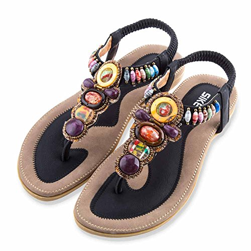 Beaded Strap Flip Flop (Summer Women's Gladiator Shoes Beaded Flip Flop Flats Rhinestone Ankle Strap Thong Sandals (10 US/EU 41, black))