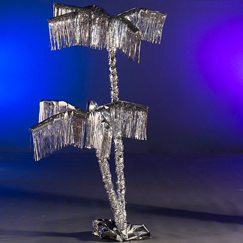8 ft. 6 in. Silver Metallic Palm Tree Tropical Luau Summer Party Supplies Decoration Decor Scene Setter