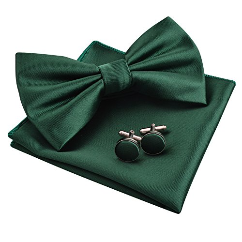 Alizeal Mens Tuxedo Bow Tie& Hanky& Cufflinks Set (Dark Green) ()