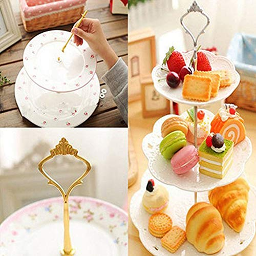 1Set 2/3 Tiers Wedding Party Cake Display Crown Handle Metal Cake Plate Stand - Silver 2 by giveyoulucky (Image #2)