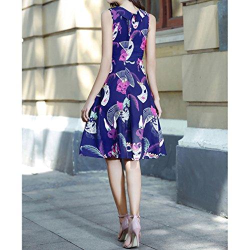 Honghu Vestido Sin Mangas De Las Mujeres De Cintura por la rodilla Plisado Vestido De Impresión Verano Azul