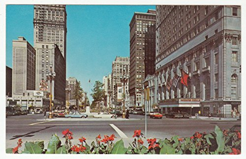 Washington Boulevard Looking North From Michigan Ave, Detroit Vintage Original Postcard #0072 - - Stores Ave Michigan