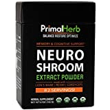 Brain & Nerve Support, Nootropics   By Primal Herb   Mental Clarity & Focus   Lion's Mane Mushroom, Reishi Spores Plus Organic Herbal Extract Powders - 82 Servings - Includes Bamboo Spoon