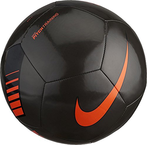 Nike Pitch Training Soccer Ball Metallic Black/Total Orange Size Size Five Ball