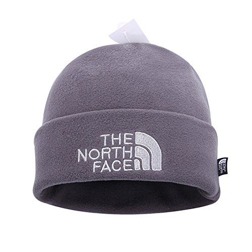 - The North Face Double Layers Winter Thicken Polar Fleece Thermal Beanie Hat (Gray, One Size)