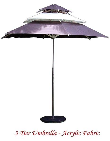 Patio Umbrella (6 Part Hex Round 3 Tire Umbrella - Gray & White)