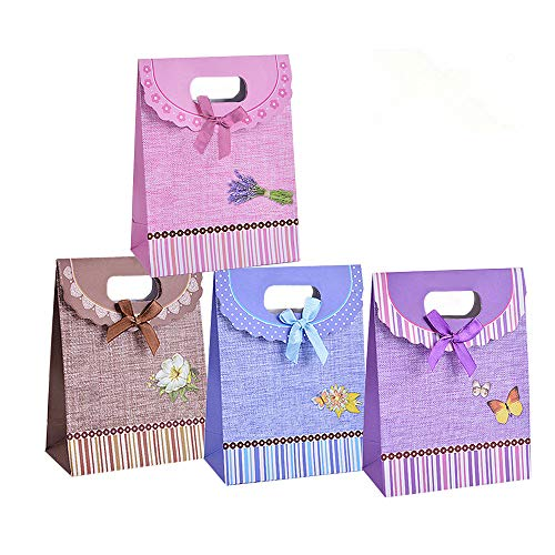 Kraft Paper Gift Bags Small Size of 12 Count for Baby Shower,Birthday Party Supplies and Wedding Party ()