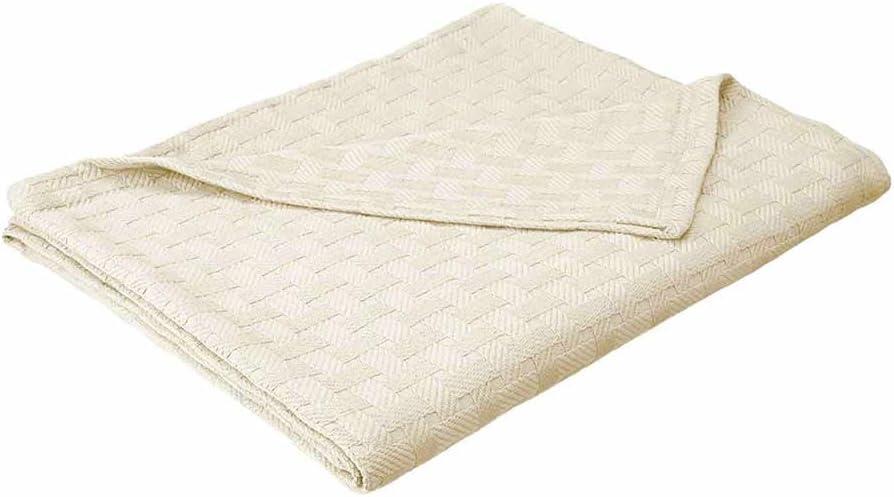 eLuxurySupply Basket Weave Blanket - 100% Soft Premium Cotton Blanket - Perfect for Layering Any Bed, King, Ivory