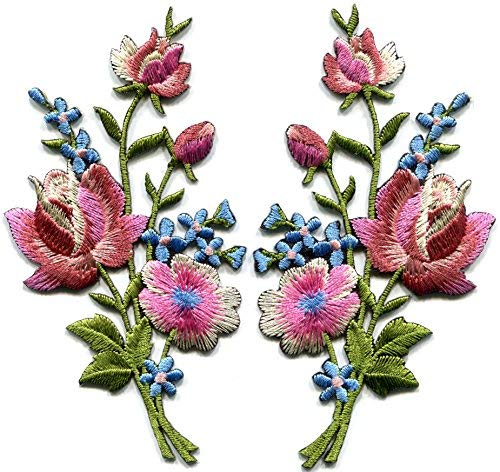 - Mauve pink roses pair flowers floral bouquet boho embroidered appliques iron-ons patches new