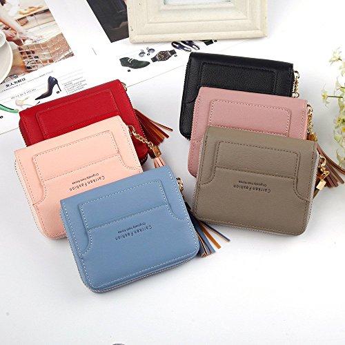 Wallet Color Zero Cuir Femmes Sac PU Petit Lovely Gland Red Black rabbit Court Pendentif pièce 7zSw8awx