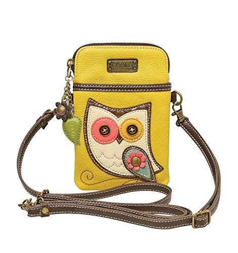 - Chala Crossbody Cell Phone Purse - Women PU Leather Multicolor Handbag with Adjustable Strap - Owl - Mustard Yellow