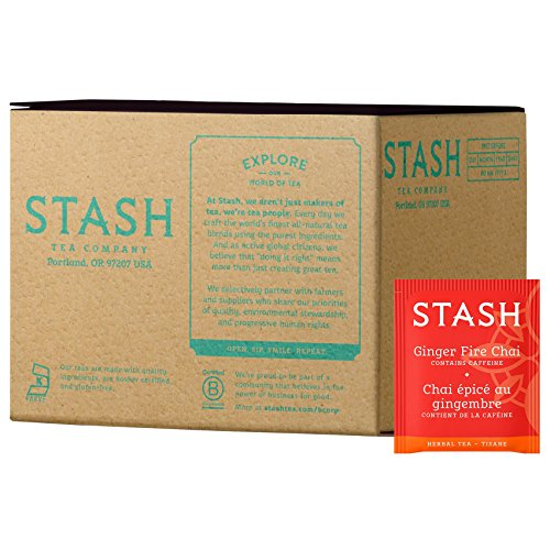 Stash Tea Ginger Fire Chai Yerba Mate & Herbal Tea Blend 100 Count Tea Bags in Foil (packaging may vary) Individual Yerba Mate Tea Bags, Use in Teapots Mugs or Cups, Brew Hot Tea or Iced Tea